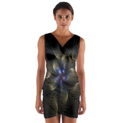 Fractal Blue Abstract Fractal Art Wrap Front Bodycon Dress
