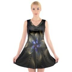 Fractal Blue Abstract Fractal Art V Neck Sleeveless Skater Dress