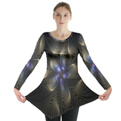 Fractal Blue Abstract Fractal Art Long Sleeve Tunic