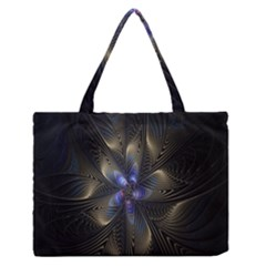 Fractal Blue Abstract Fractal Art Medium Zipper Tote Bag