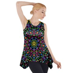 Fractal Texture Side Drop Tank Tunic