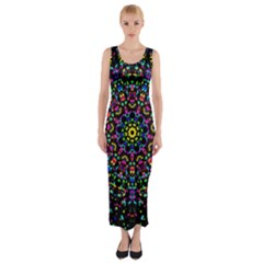 Fractal Texture Fitted Maxi Dress