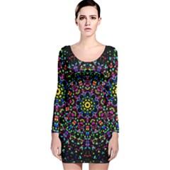 Fractal Texture Long Sleeve Velvet Bodycon Dress
