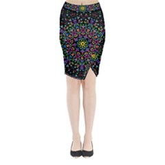 Fractal Texture Midi Wrap Pencil Skirt