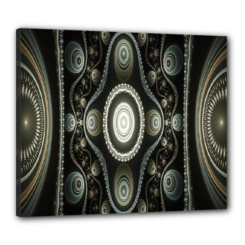 Fractal Beige Blue Abstract Canvas 24  x 20