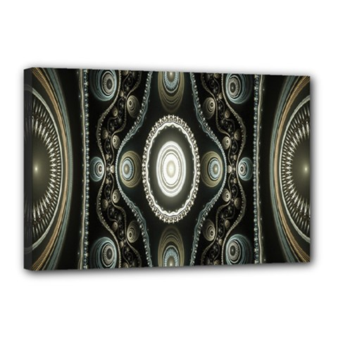 Fractal Beige Blue Abstract Canvas 18  x 12