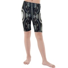 Fractal Beige Blue Abstract Kids  Mid Length Swim Shorts