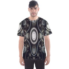 Fractal Beige Blue Abstract Men s Sport Mesh Tee