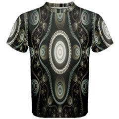 Fractal Beige Blue Abstract Men s Cotton Tee