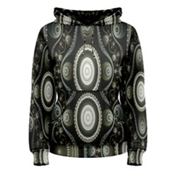 Fractal Beige Blue Abstract Women s Pullover Hoodie