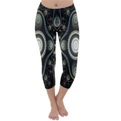 Fractal Beige Blue Abstract Capri Winter Leggings