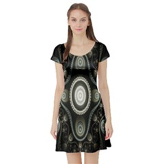 Fractal Beige Blue Abstract Short Sleeve Skater Dress
