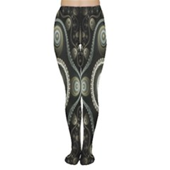 Fractal Beige Blue Abstract Women s Tights
