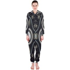 Fractal Beige Blue Abstract Hooded Jumpsuit (Ladies)