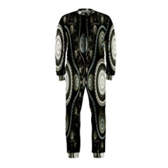 Fractal Beige Blue Abstract Onepiece Jumpsuit (kids)