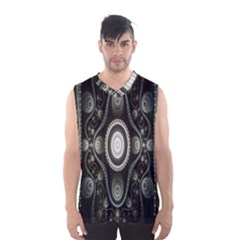 Fractal Beige Blue Abstract Men s Basketball Tank Top