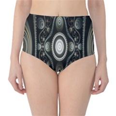 Fractal Beige Blue Abstract High-Waist Bikini Bottoms