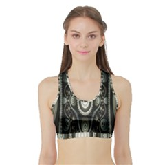 Fractal Beige Blue Abstract Sports Bra with Border