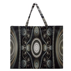Fractal Beige Blue Abstract Zipper Large Tote Bag