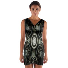 Fractal Beige Blue Abstract Wrap Front Bodycon Dress