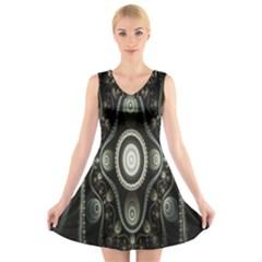 Fractal Beige Blue Abstract V-Neck Sleeveless Skater Dress