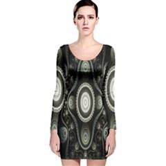 Fractal Beige Blue Abstract Long Sleeve Velvet Bodycon Dress