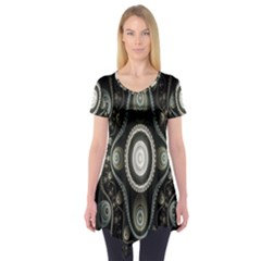Fractal Beige Blue Abstract Short Sleeve Tunic