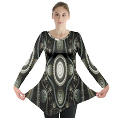 Fractal Beige Blue Abstract Long Sleeve Tunic