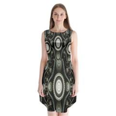 Fractal Beige Blue Abstract Sleeveless Chiffon Dress