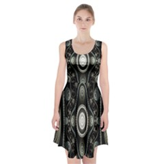 Fractal Beige Blue Abstract Racerback Midi Dress