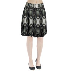 Fractal Beige Blue Abstract Pleated Skirt