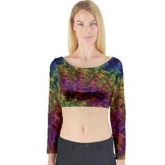Fractal Art Design Colorful Long Sleeve Crop Top