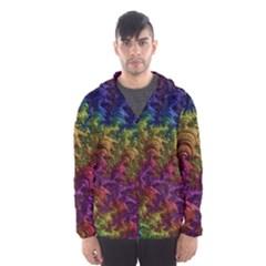 Fractal Art Design Colorful Hooded Wind Breaker (Men)