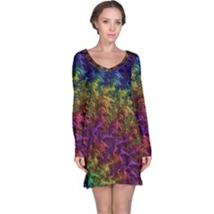 Fractal Art Design Colorful Long Sleeve Nightdress