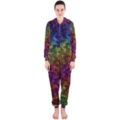 Fractal Art Design Colorful Hooded Jumpsuit (ladies)