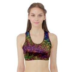 Fractal Art Design Colorful Sports Bra with Border