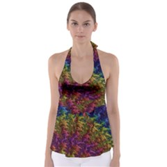 Fractal Art Design Colorful Babydoll Tankini Top