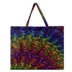Fractal Art Design Colorful Zipper Large Tote Bag