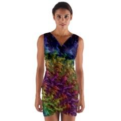 Fractal Art Design Colorful Wrap Front Bodycon Dress