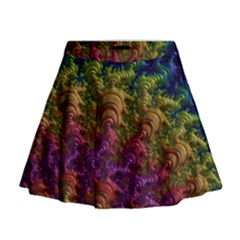 Fractal Art Design Colorful Mini Flare Skirt