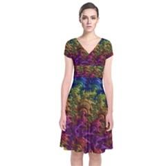 Fractal Art Design Colorful Short Sleeve Front Wrap Dress