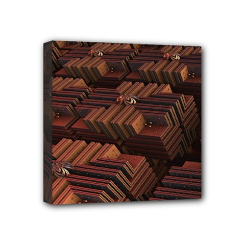 Fractal 3d Render Futuristic Mini Canvas 4  x 4
