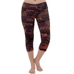 Fractal 3d Render Futuristic Capri Yoga Leggings
