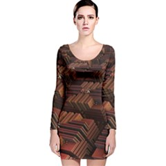 Fractal 3d Render Futuristic Long Sleeve Velvet Bodycon Dress
