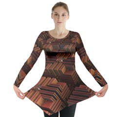 Fractal 3d Render Futuristic Long Sleeve Tunic