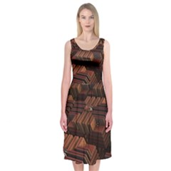 Fractal 3d Render Futuristic Midi Sleeveless Dress