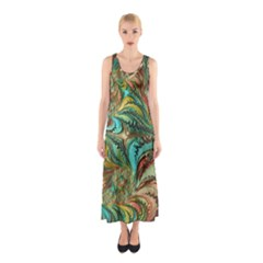 Fractal Artwork Pattern Digital Sleeveless Maxi Dress