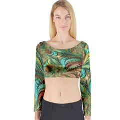 Fractal Artwork Pattern Digital Long Sleeve Crop Top