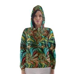 Fractal Artwork Pattern Digital Hooded Wind Breaker (Women)
