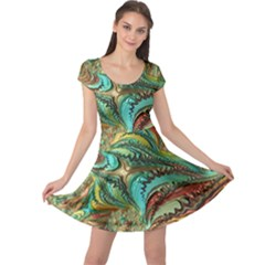 Fractal Artwork Pattern Digital Cap Sleeve Dresses